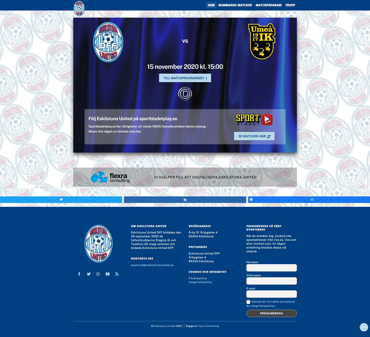 Eskilstuna United Matchprogram front
