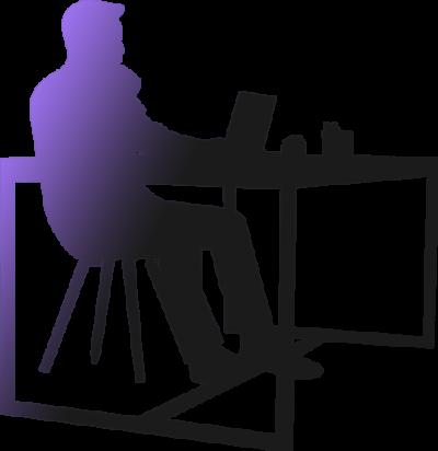 Spice Grafix silhuett av man sittandes vid skrivbord